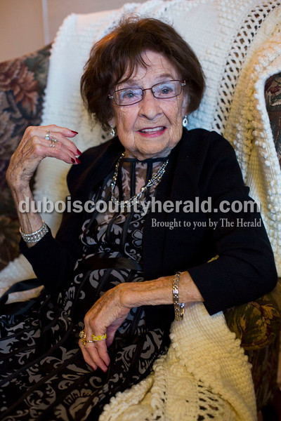 """Alisha Jucevic/The Herald <br /> More than 100 people showed up to wish Geneva Himsel of Jasper a Happy 100th Birthday on Saturday afternoon at KlubHaus 61 in Jasper. """"Everyone had to dress up. That was a requirement from her,"""" said Nicole Cigna of Las Vegas, Nev., Himsel's granddaughter who organized the event. """"She's a very classy lady."""""""