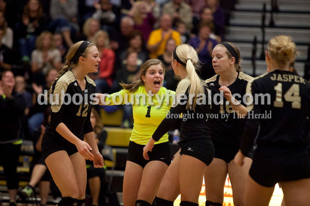 Erica Lafser/The Herald<br /> Jasper's Layne Sermersheim motivated her teammates during Saturday's Class 3A semistate match against Northview at Jasper High School. The Wildcats' lost in four sets.