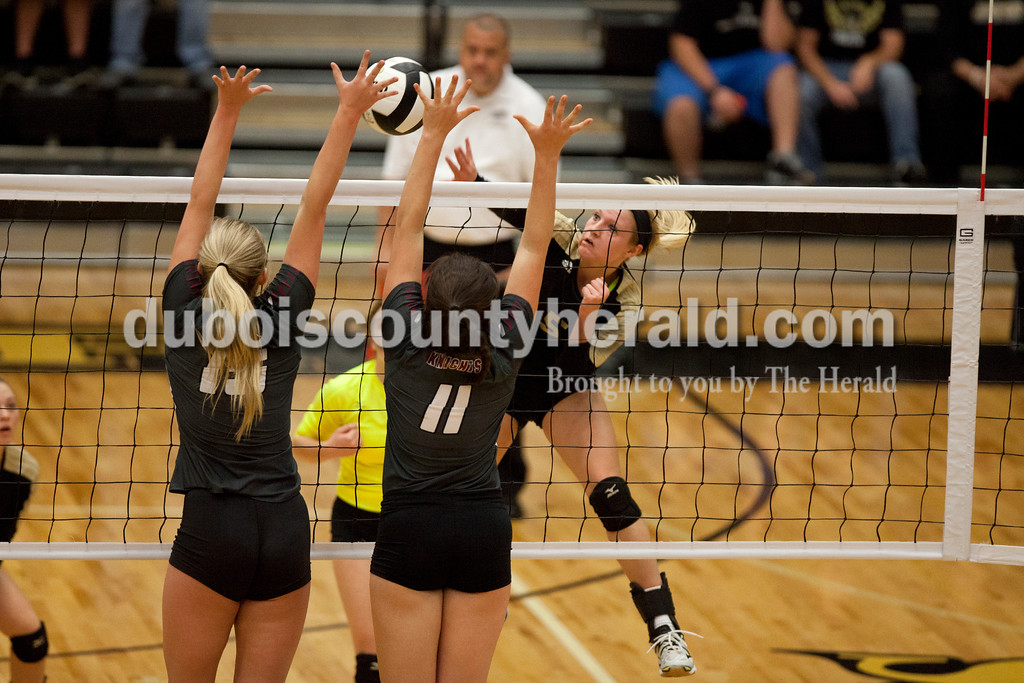 Erica Lafser/The Herald<br /> Jasper's Michala Flamion spiked the ball during Saturday's Class 3A semistate match against Northview at Jasper High School. The Wildcats' lost in four sets.