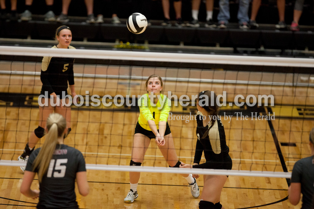 Erica Lafser/The Herald<br /> Jasper's Layne Sermersheim bumped the ball during Saturday's Class 3A semistate match against Northview at Jasper High School. The Wildcats' lost in four sets.