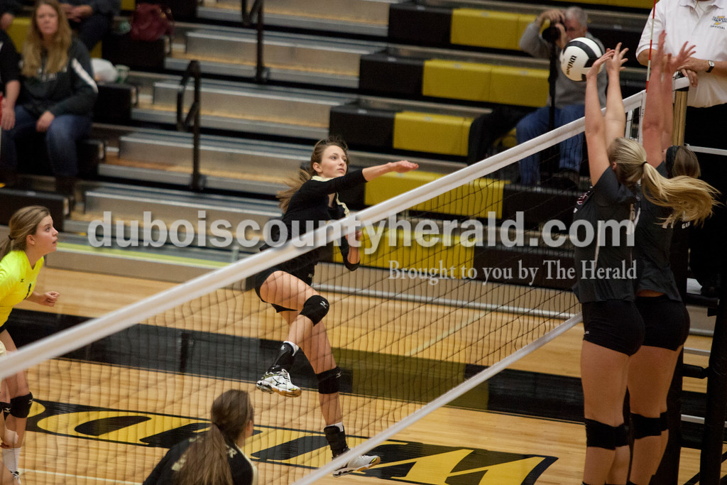 Erica Lafser/The Herald<br /> Jasper's Libby Bell spiked the ball during Saturday's Class 3A semistate match against Northview at Jasper High School. The Wildcats' lost in four sets.