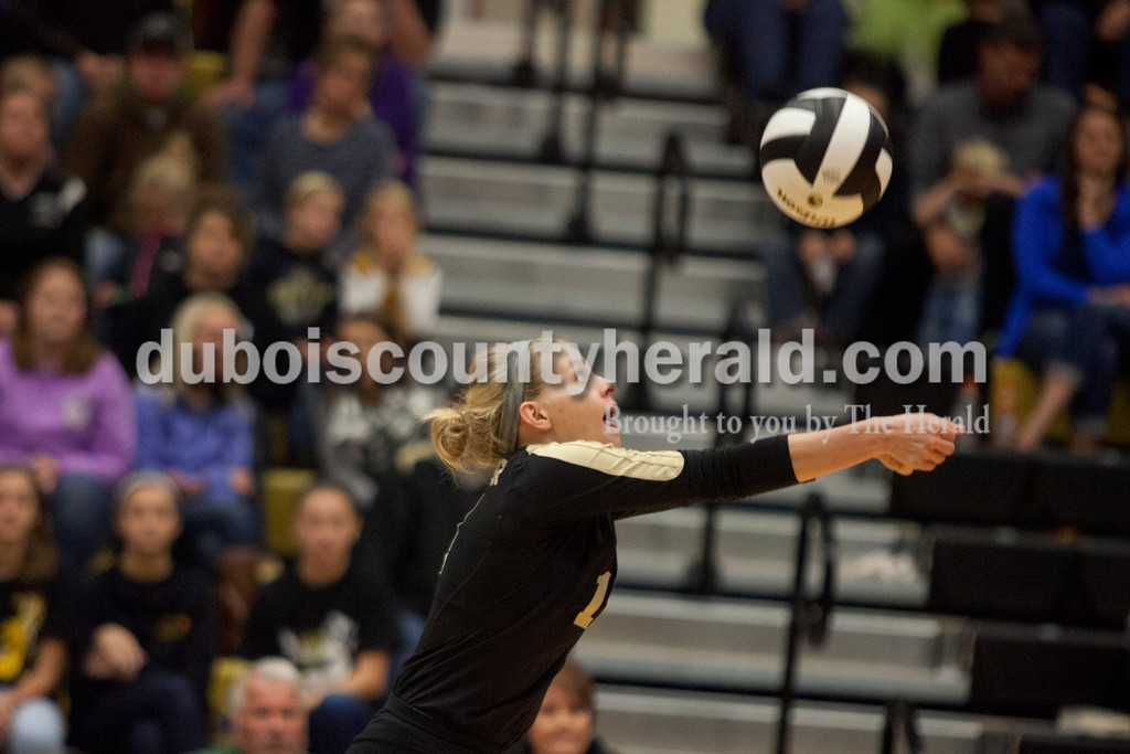 Erica Lafser/The Herald<br /> Jasper's Teyah Leinenbach bumped the ball during Saturday's Class 3A semistate match against Northview at Jasper High School. The Wildcats' lost in four sets.