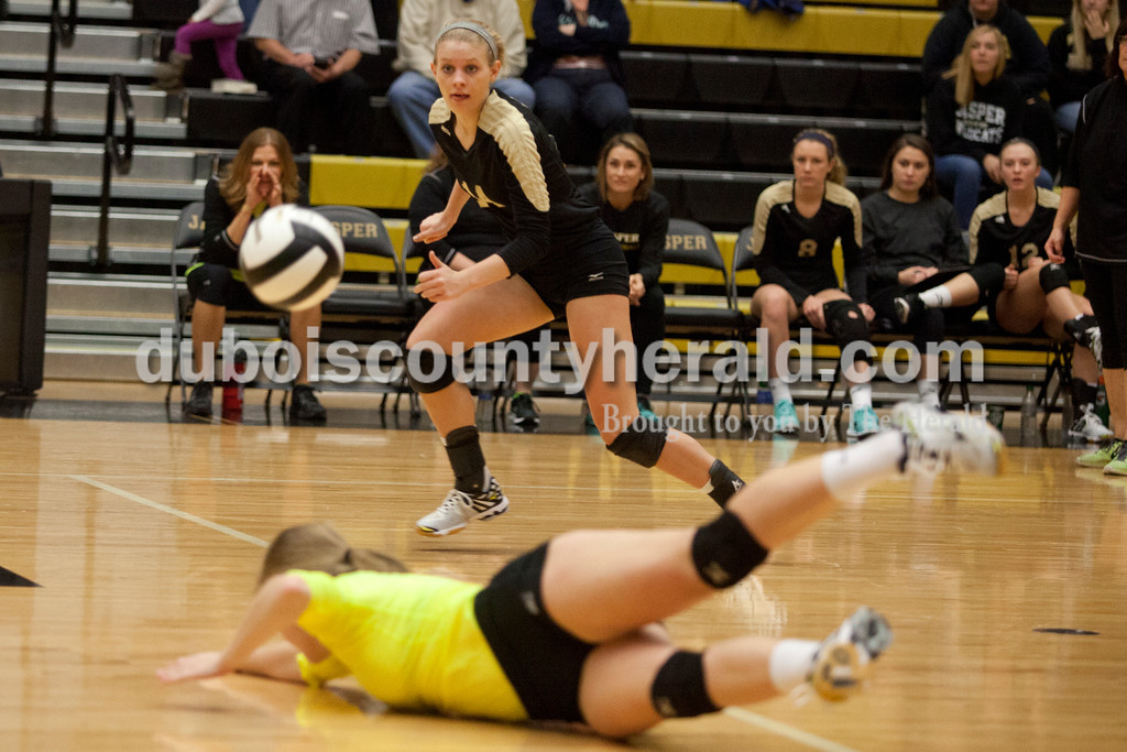 Erica Lafser/The Herald<br /> Jasper's Teyah Leinenbach prepared to dive for the ball during Saturday's Class 3A semistate match against Northview at Jasper High School. The Wildcats' lost in four sets.