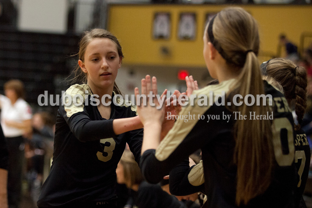 Erica Lafser/The Herald<br /> Jasper's Libby Bell high fived her teammates during Saturday's Class 3A semistate match against Northview at Jasper High School. The Wildcats' lost in four sets.