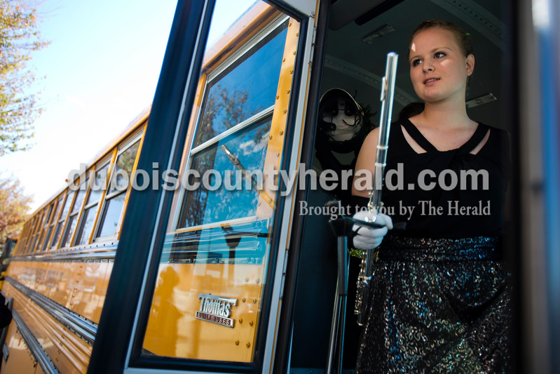 Alisha Jucevic/The Herald <br /> Jasper High School senior and drum major Antoinette Birge got off the bus as the Wildcats arrived at the ISSMA State Marching Band competition on Saturday at Lucas Oil Stadium in Indianapolis. The Marching Wildcats placed fourth in ISSMA Open Class B.