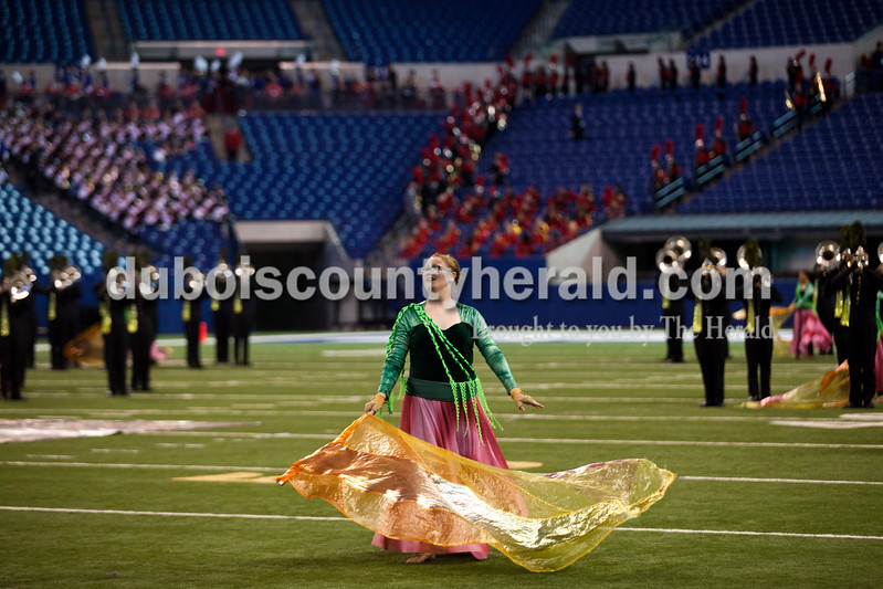 Alisha Jucevic/The Herald <br /> Jasper High School senior Aleah Popp performed during the ISSMA State Marching Band competition on Saturday at Lucas Oil Stadium in Indianapolis. The Marching Wildcats placed fourth in ISSMA Open Class B.
