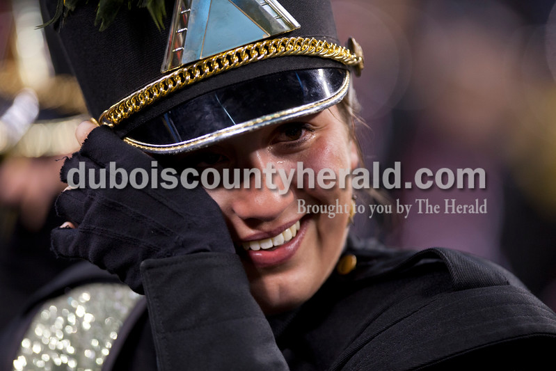 Alisha Jucevic/The Herald <br /> Jasper senior Moriah Kaiser reacted during the ISSMA State Marching Band competition awards on Saturday at Lucas Oil Stadium in Indianapolis. The Marching Wildcats placed fourth in ISSMA Open Class B.