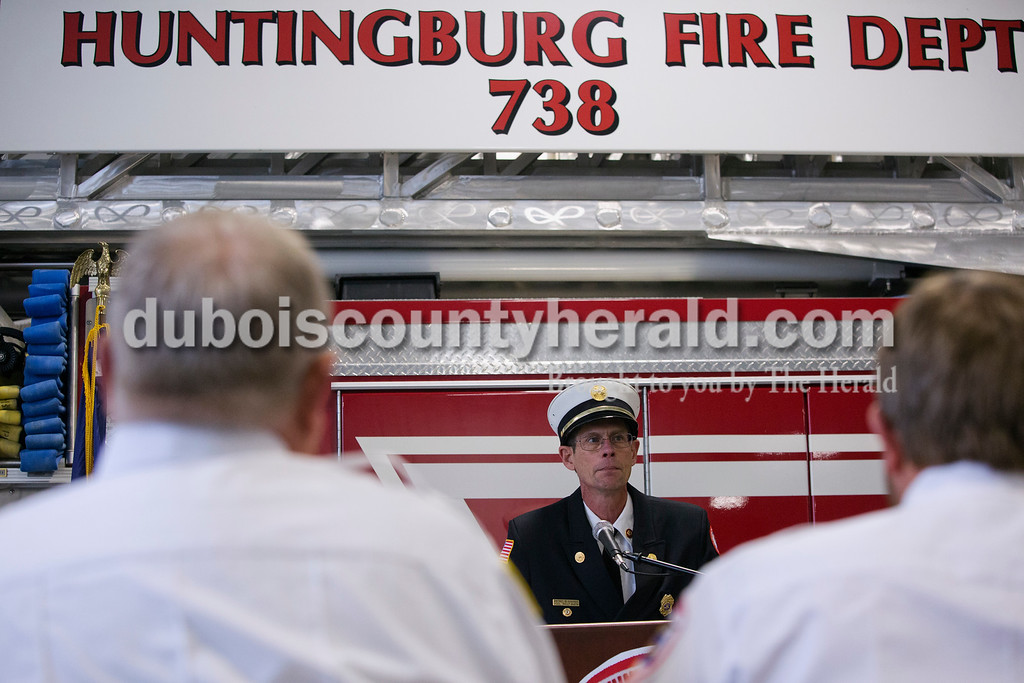 Erica Lafser/The Herald<br /> John Smith of Huntingburg was the spokesman during the uncoupling ceremony at the rededication of Fire Station 2 in Huntingburg on Sunday. The building was originally built in 1992, but two years ago they started remodeling part of the building.