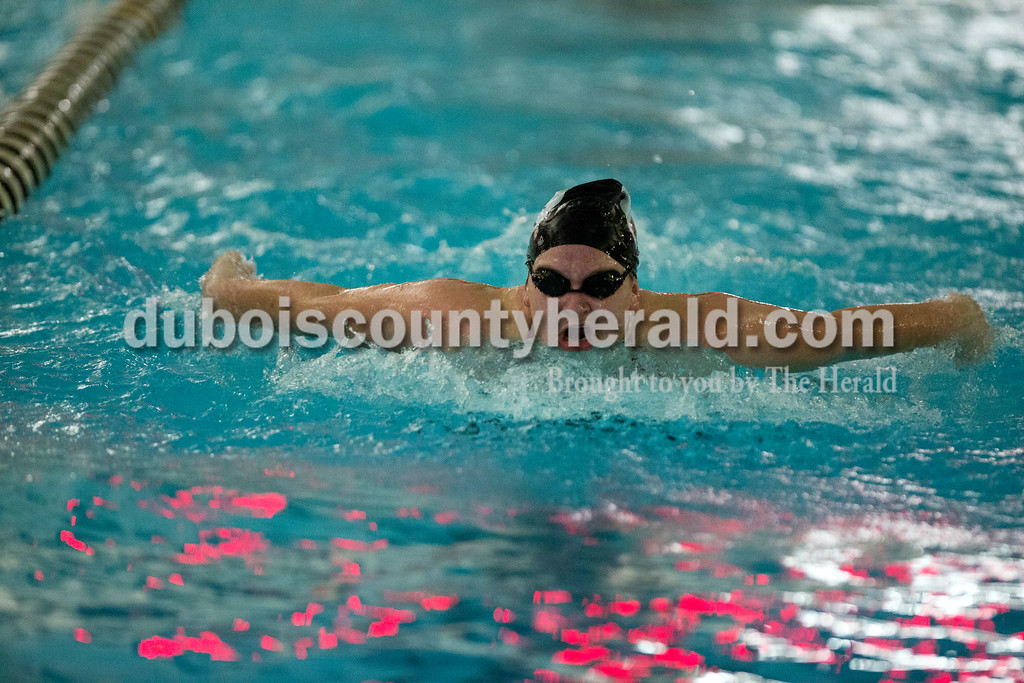 Erica Lafser/The Herald<br /> Southridge's Molly Jochem competed in the 100-yard butterfly during Monday night's meet against Heritage Hills in Huntingburg.