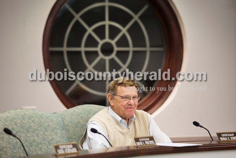Alisha Jucevic/The Herald<br /> Councilman Tom Schmidt waited for Tuesday night's Common Council meeting to begin at City Hall in Jasper. After forty years of service, Tom Schmidt, is retiring from his position on the council.
