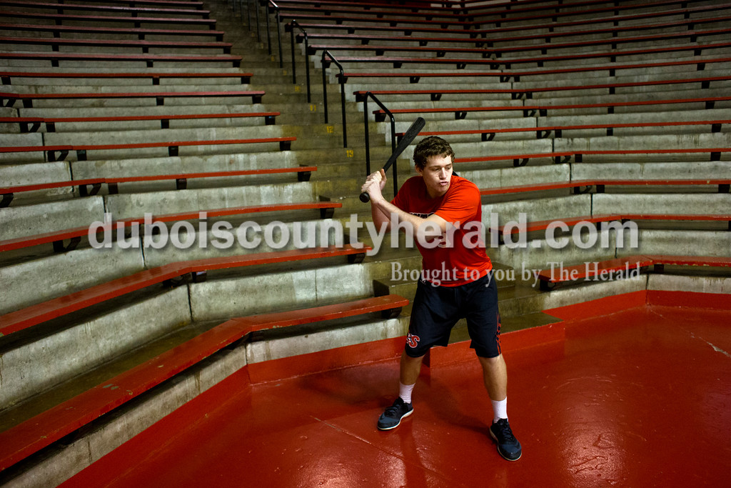 Southridge sophomore Jayce Harter took some practice swings before the whiffle ball game on New Year's Eve at Huntingburg Memorial Gymnasium. Dave Weatherwax/The Herald
