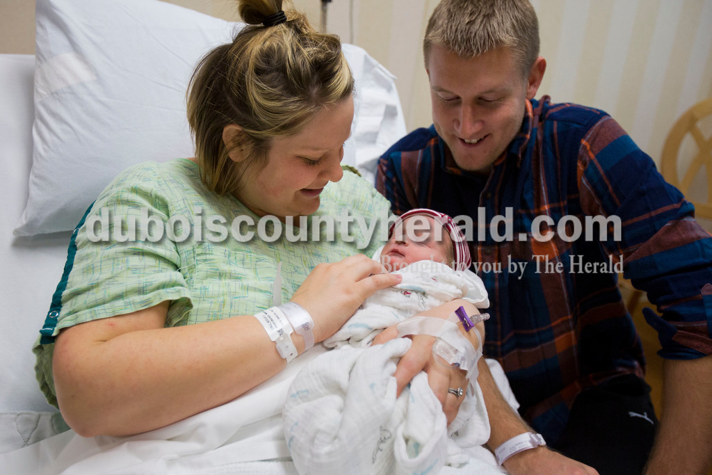 Alisha Jucevic/The Herald<br /> Gunner Robert Dall was born at 1:59 p.m. on New Year's Day to Keelie and Eric Dall of Jasper, making him the first baby born at Memorial Hospital and Health Care Center in 2016. Gunner was 21 inches long and weighed 7 pounds, 3 ounces. Gunner is the couple's first child.
