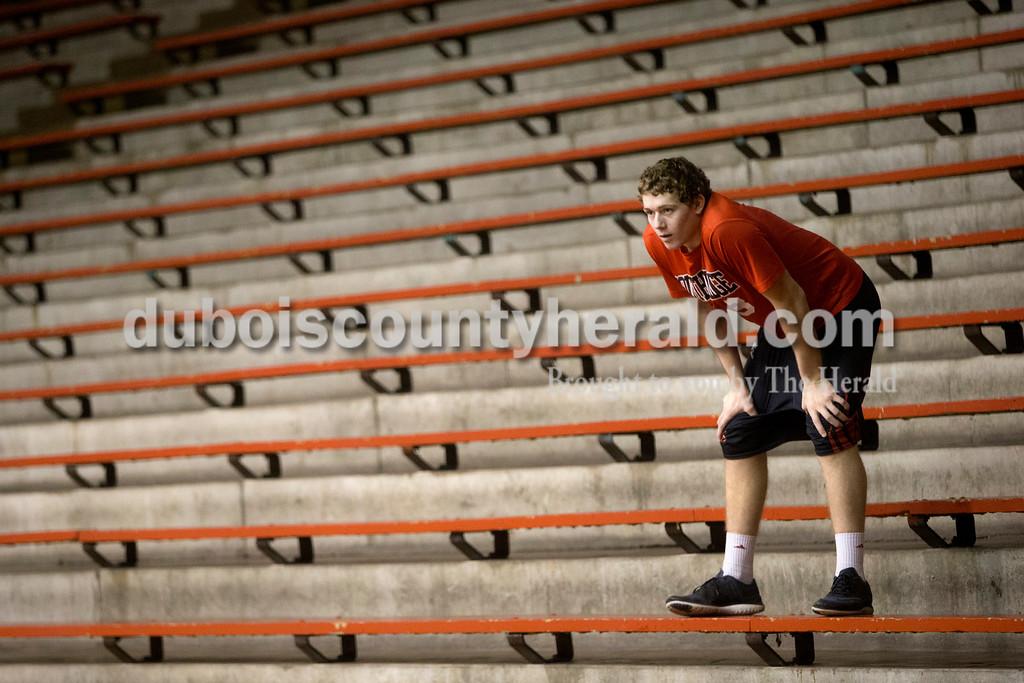 Southridge sophomore Jayce Harter stood on the bleachers as he played an outfield position during the whiffle ball game on New Year's Eve at Huntingburg Memorial Gymnasium. Dave Weatherwax/The Herald