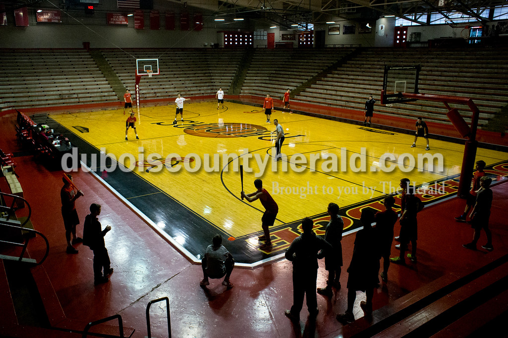 Dave Weatherwax/The Herald<br /> The Southridge boys basketball team transformed Huntingburg Memorial Gymnasium into a whiffle ball field on New Year's eve. The team pitted their underclassman versus the upperclassman following their last practice of 2015. The upperclassman narrowly won the nine-inning battle, 4-3.