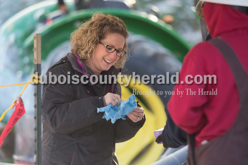Sarah Ann Jump/The Herald<br /> A woman put on gloves as part of the decontamination process at Steve and Dan Kalb's farm in Dubois on Sunday.