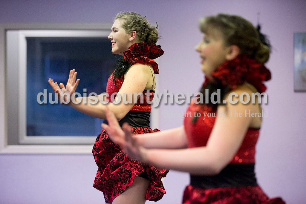 Sarah Ann Jump/The Herald<br /> Anna Wagner, 16, left, and Olivia Hedinger, 14, both of Jasper, performed a routine during Sunday's practice at Dance Central Academy of Performing Arts in Jasper.