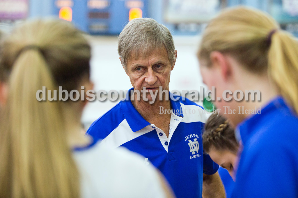 """Northeast Dubois' head coach Alan Matheis, a.k.a. """"Spider"""", talked with his team before the game against South Knox on Tuesday, Nov. 17, in Dubois. <br /> Alisha Jucevic/The Herald"""