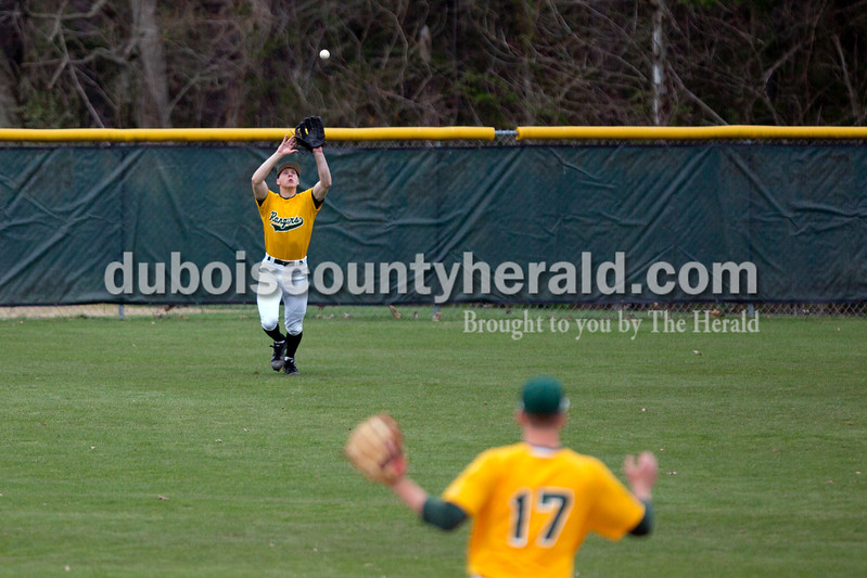 Forest Park's Andy Schlachter caught a fly ball during Wednesday's game against Crawford County in Ferdinand. The Rangers won 2-0. Ariana van den Akker/The Herald