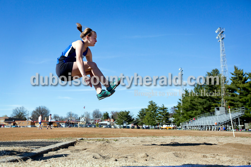 Northeast Dubois' Jessica Kahle competed in the long jump during Tuesday afternoon's track meet against Jasper at Jerry Brewer Alumni Stadium in Jasper. Ariana van den Akker/The Herald