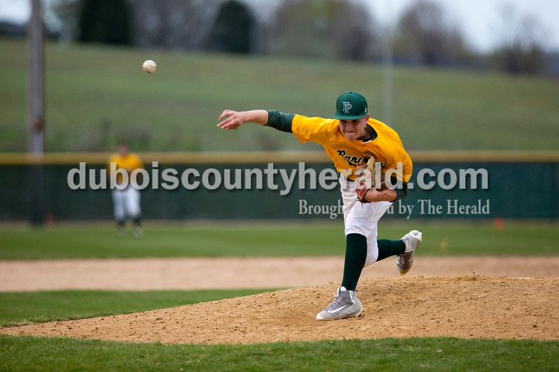 Forest Park's Ben Wendholt pitched during Wednesday's game against Crawford County in Ferdinand. The Rangers won 2-0. Ariana van den Akker/The Herald