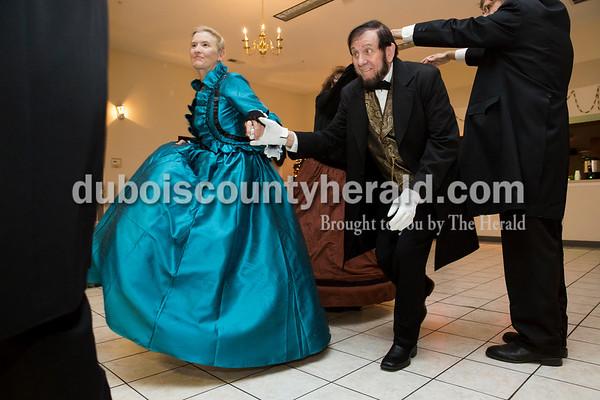 Connie Luthy of Lamar and Tom Wright of Oak Ridge, Tenn. danced the Virginia reel at the annual gala at Santa's Lodge in Santa Claus on April 16.