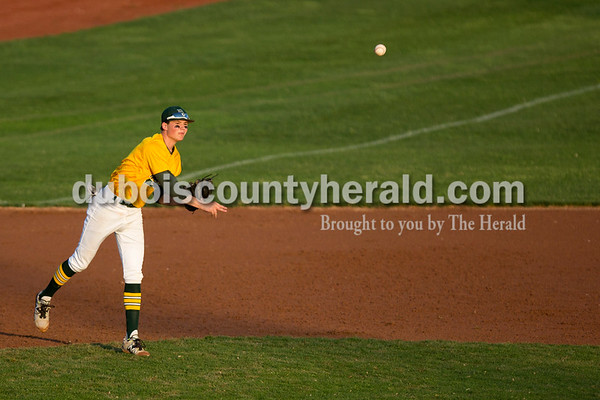 Forest Park's Jaxon Cronin threw the ball to first during Friday evening's game against Southridge at League Stadium in Huntingburg. The Rangers won 5-4. Ariana van den Akker/The Herald