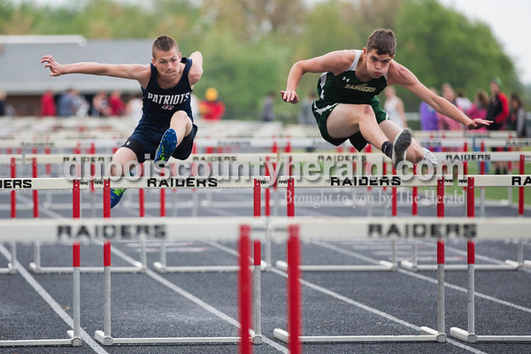 Heritage Hills' Zane Schaad and Forest Park's Blake Mohr competed in the 110 meter hurdle trial during Thursday's Southridge Track and Field Invitational in Huntingburg. Sarah Ann Jump/The Herald