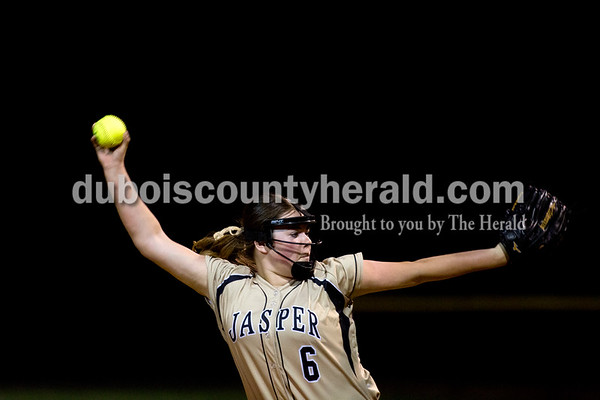 Jasper's Olivia Knies pitched during Thursday night's game against Boonville in Jasper. The Wildcats won 11-3. Ariana van den Akker/The Herald