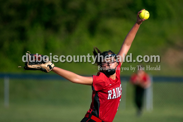Southridge's Kassidy Mundy pitched during Monday evening's game against Northeast Dubois in Dubois. The Jeeps won 7-6. Ariana van den Akker/The Herald