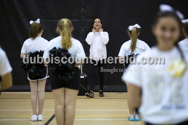 Jill Wigand reminded the Jasper Middle School dance team members to smile as she ran through their routine with them on Feb. 9 before they performed at half time of a high school basketball game at Jasper High School. Jill started the middle school dance team 15 years ago, and had been a cheer coach at JMS 12 years prior to that.