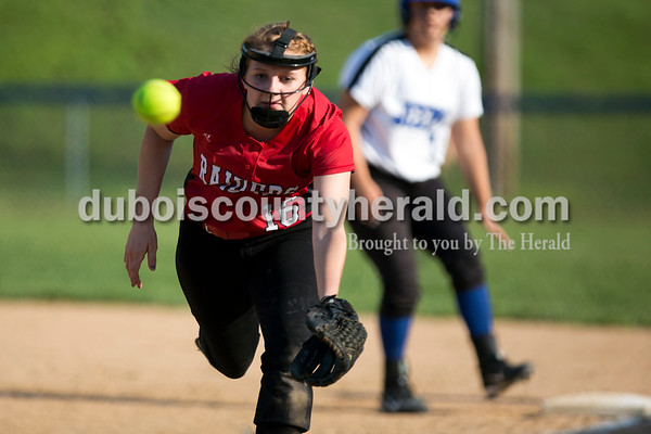 Southridge's Amanda Brewer reached for a foul ball during Monday evening's game against Northeast Dubois in Dubois. The Jeeps won 7-6. Ariana van den Akker/The Herald