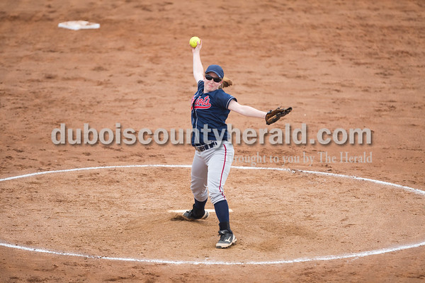 Heritage Hills' Jamie Tempel pitch during Friday's game at Southridge High School in Huntingburg. The Patriots beat the Raiders 9-3. Sarah Ann Jump/The Herald