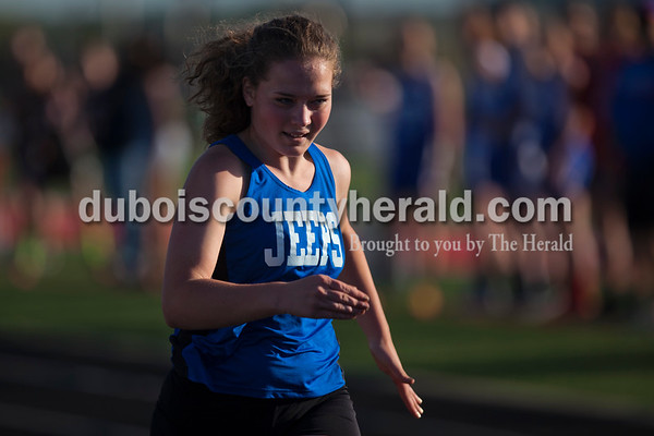 Northeast Dubois' Maddy Laux sprinted toward the finish line during the 100-meter dash trial at Thursday's Southridge Invitational in Huntingburg. Laux placed sixth in the final race with a time of 13.75.   Alisha Jucevic/The Herald