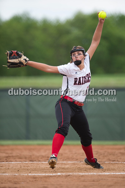 Southridge's Kassidy Mundy pitched during Friday's game against Heritage Hills at Southridge High School in Huntingburg. The Patriots beat the Raiders 9-3. Sarah Ann Jump/The Herald