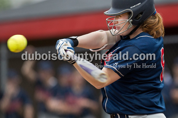 Heritage Hills' Jamie Tempel batted during Friday's game at Southridge High School in Huntingburg. The Patriots beat the Raiders 9-3. Sarah Ann Jump/The Herald