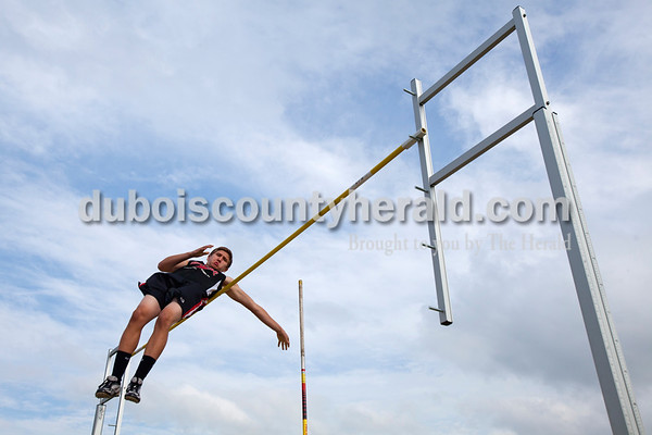 Southridge's Tyler Bolen cleared the bar in the pole vault during the Southridge and Forest Park dual meet on Monday evening in Ferdinand.   Alisha Jucevic/The Herald
