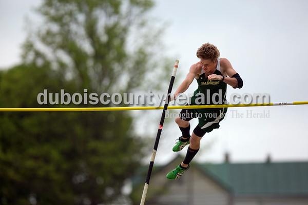 Forest Park's Blake Emmert cleared the bar in the pole vault during the Southridge and Forest Park dual meet on Monday evening in Ferdinand.   Alisha Jucevic/The Herald