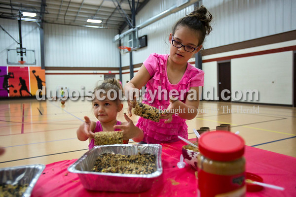 Haisley Weyer, 4, and her sister, Havan, of Ferdinand made bird feeders out of peanut butter and seeds during the Tri-County YMCA annual Healthy Kids' Day on Saturday in Ferdinand.    Alisha Jucevic/The Herald