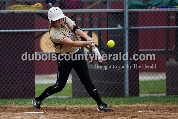 Jasper's Olivia Knies went up to bat during Thursday night's Class 3A sectional championship against Pike Central in Petersburg. The Wildcats secured a 3-0 win and will move on to play Boonville in the regional championship on Tuesday at the Jasper Youth Sports Complex.  Alisha Jucevic/The Herald