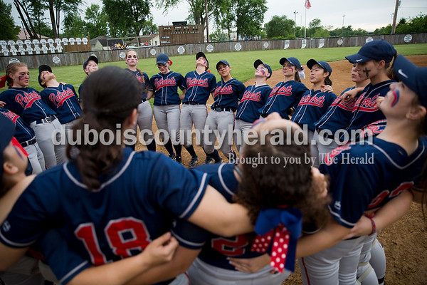 The Heritage Hills softball team leaned back before spitting in the circle, a tradition, before Thursday's Class 3A sectional championship game in Boonville. The Heritage Hills Patriots lost to the Boonville Pioneers 8-2. Sarah Ann Jump/The Herald
