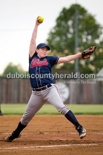Heritage Hills' Jamie Tempel pitched during Thursday's Class 3A sectional championship game in Boonville. The Heritage Hills Patriots lost to the Boonville Pioneers 8-2. Sarah Ann Jump/The Herald