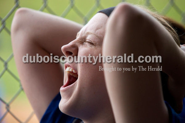 Northeast Dubois' AJ Kirchoff cheered on her teammates during the Class 1A softball sectional championship against Tecumseh in Dubois. The Jeeps lost 2-0. Dave Weatherwax/The Herald