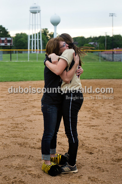 Jasper's Paige Werner embraced her mother Gretchen Werner after Thursday night's Class 3A sectional championship against Pike Central in Petersburg. The Wildcats secured a 3-0 win and will move on to play Boonville in the regional championship on Tuesday at the Jasper Youth Sports Complex.  Alisha Jucevic/The Herald