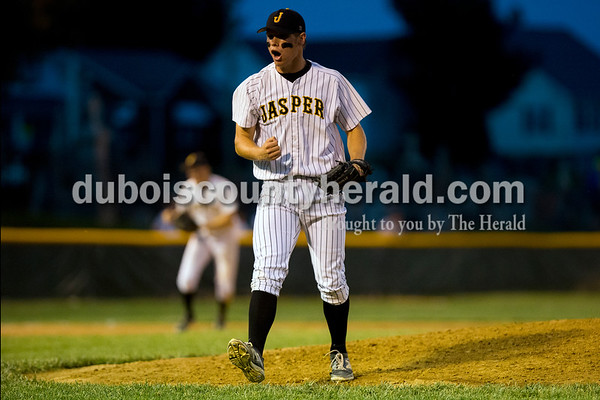 Jasper pitcher Cal Krueger reacted after striking out a Princeton batter to end the sixth inning during the Class 3A sectional championship Monday night at Ruxer Field in Jasper. The Wildcats defeated Princeton 5-0. Dave Weatherwax/The Herald