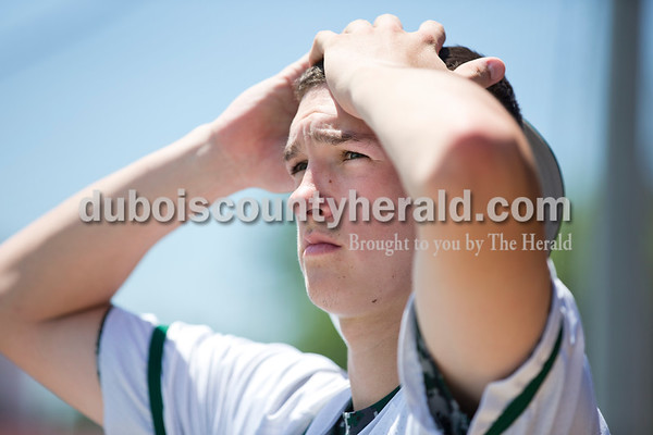 Forest Park's Reid Brown watched the last inning of Monday's Class 2A sectional championship in Tell City. The Forest Park Rangers lost to the South Spencer Rebels 5-0. Sarah Ann Jump/The Herald