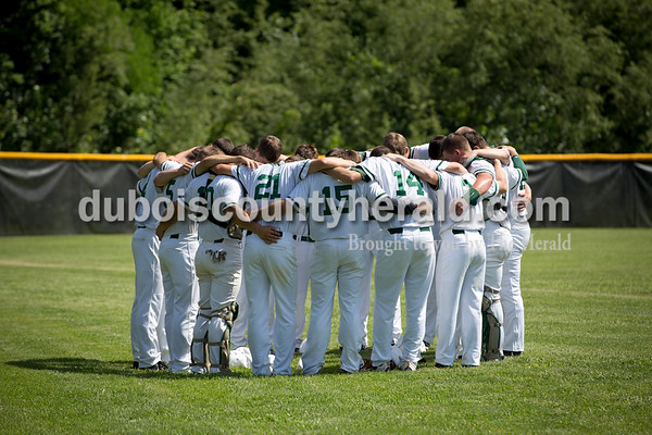 The Forest Park baseball team huddled before Monday's Class 2A sectional championship in Tell City. The Forest Park Rangers lost to the South Spencer Rebels 5-0. Sarah Ann Jump/The Herald