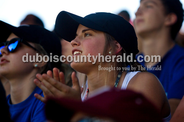 Northeast Dubois' incoming sophomore Molly Lueken watched Monday's Class 1A sectional championship against Tecumseh in Cannelton. Northeast Dubois defeated Tecumseh 6-1 to win the sectional title.   Alisha Jucevic/The Herald