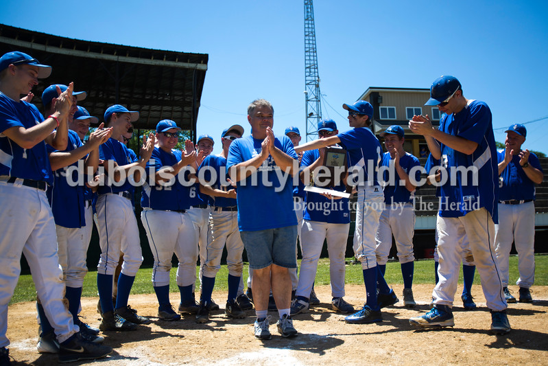 The Northeast Dubois Jeeps sang happy birthday to Vince Collins, the number one Jeeps fan, after Monday's Class 1A sectional championship against Tecumseh in Cannelton. Northeast Dubois defeated Tecumseh 6-1 to win the sectional title. <br /> <br /> Alisha Jucevic/The Herald