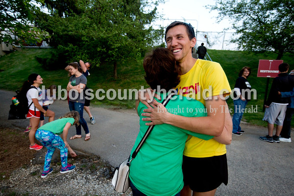 Dustin's mother Connie Betz of Celestine hugged and congratulated Dustin after the Billy Hayes Invitational at Indiana University on May 6.