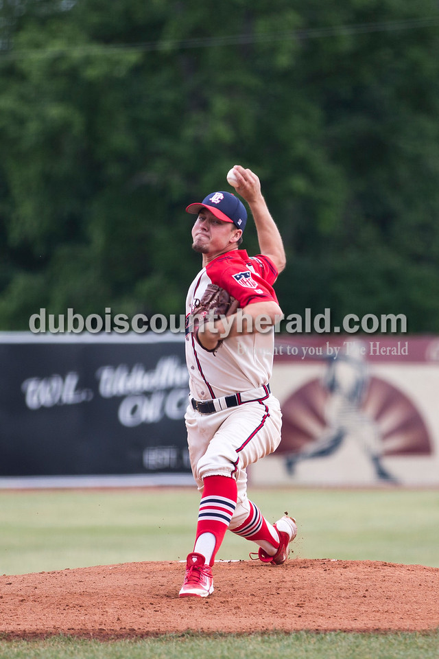 Bombers' Mathew Munden delivered a pitch during Tuesday evening's game between the Dubois County Bombers and Paducah Chiefs at League Stadium in Huntingburg. The Bombers won 4-2. Sarah Ann Jump/The Herald
